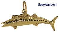 gold wahoo fish charm
