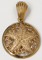 14kt starfish bubble pendant with scallop shell bail