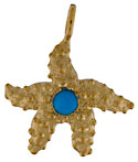 14kt starfish with cabochon turquoise center stone