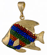 tropical reef angel fish and eamel pendant