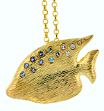 14kt angel fish pendant or brooch with gemstones