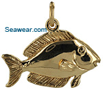 14kt gold blue tang reef fish for necklace or charm bracelet