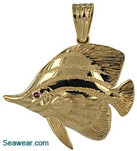 14kt longnose butterfly tropical fish pendant with sapphire eye