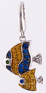 14kt white gold double reef fish pendant with diamonds and sapphires