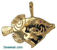 14kt Clown Triggerfish necklace jewelry