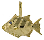 14kt Queen triggerfish pendant charm