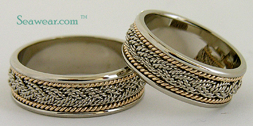 14k white gold turks head bands