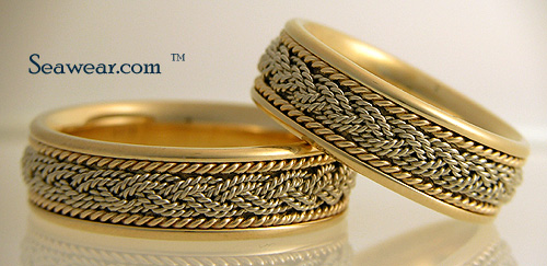 7mm Turks Head wedding bands in comfort fit
