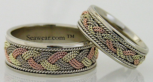 tri color turks head wedding rings