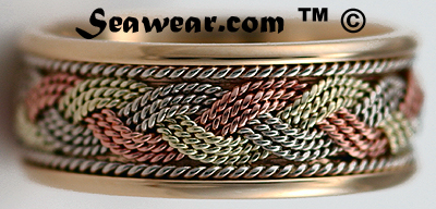 14kt tri color Turks Head band