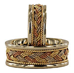 white gold bands with tri-gold Turks Head braids