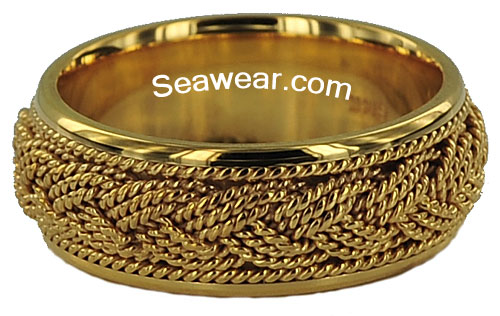 gold Turks Head triple strand wedding ring