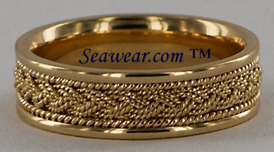 14kt gold 7mm Turks Head braid band with two strands and two twisted wire borders