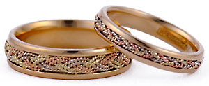 14kt try gold single and double braid wedding set