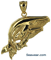 14kt gold mother whale and calf pendant