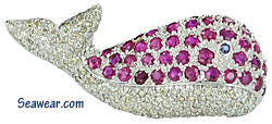 18kt whale brooch with diamonds, rubies and sapphire