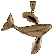 gold whale dancing pendant