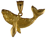 14kt whale pendant with detailed side and barnacles