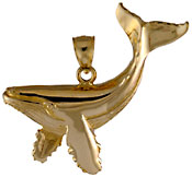 14kt gold very detailed whale jewelry pendant
