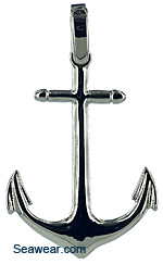 white gold anchor necklace pendant
