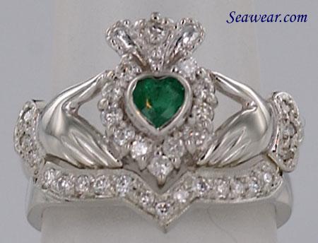 Irish wedding ring emerald