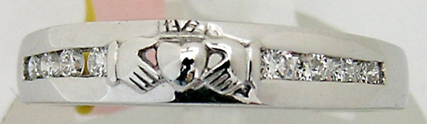 14kt white gold and diamonds Claddagh eternity band